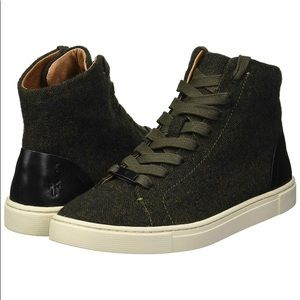 Frye Olive Green Ivy High Top Boot Sneakers, Sz 8